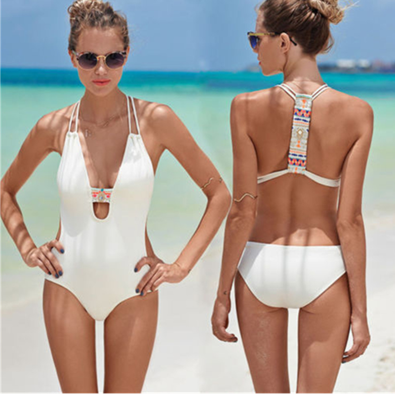 Women Swimwear Sexy High Cut One Piece Backless Swimsuit hot Sexy Black White Hollow Out Bathing suit 11529