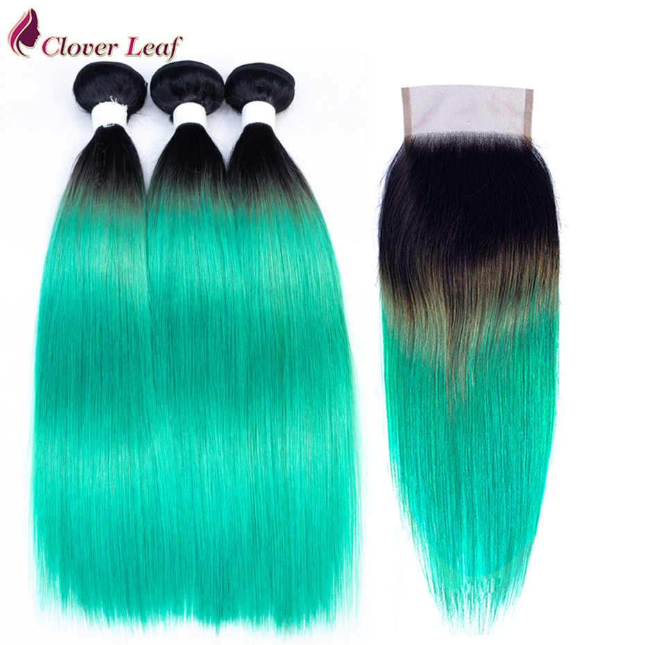 Clover Leaf Straight Brazilian Hair T1B/OT Emerald Color ombre Hair 3 bundles remy human hair with lace closure frontal 4*4