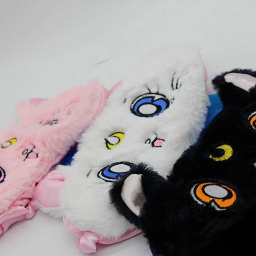 Máscara para os olhos de pelúcia do gato, máscara de olho de pelúcia para o sono, olho de gato sailor lua guerreiro luna, desenhos animados, sombreamento