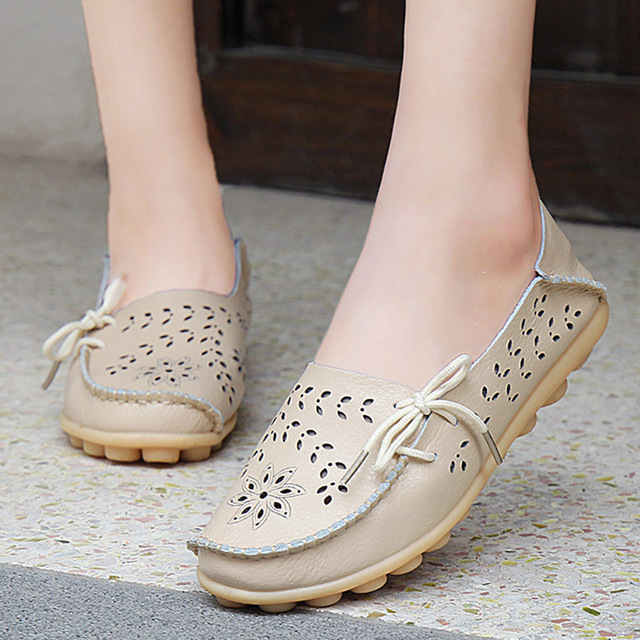 Hot Size 34-44 shoes women Breathable slip on flats women s Moccasins  genuine leather flat 995a9dcf7bc4