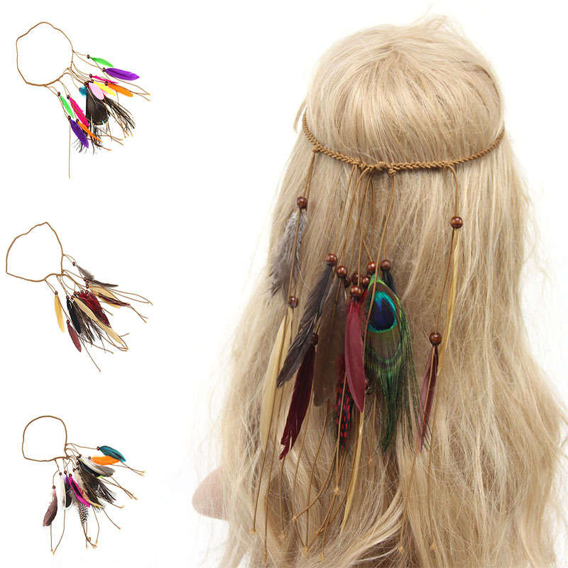 Hot Fashion Bohemian Festival Feather Headband Hippie Headdress Hair Accessories Boho Peacock Feather Headdress For Women viborg audio 24k gold plated iec ac inlet iec input socket solder screws locking inlet