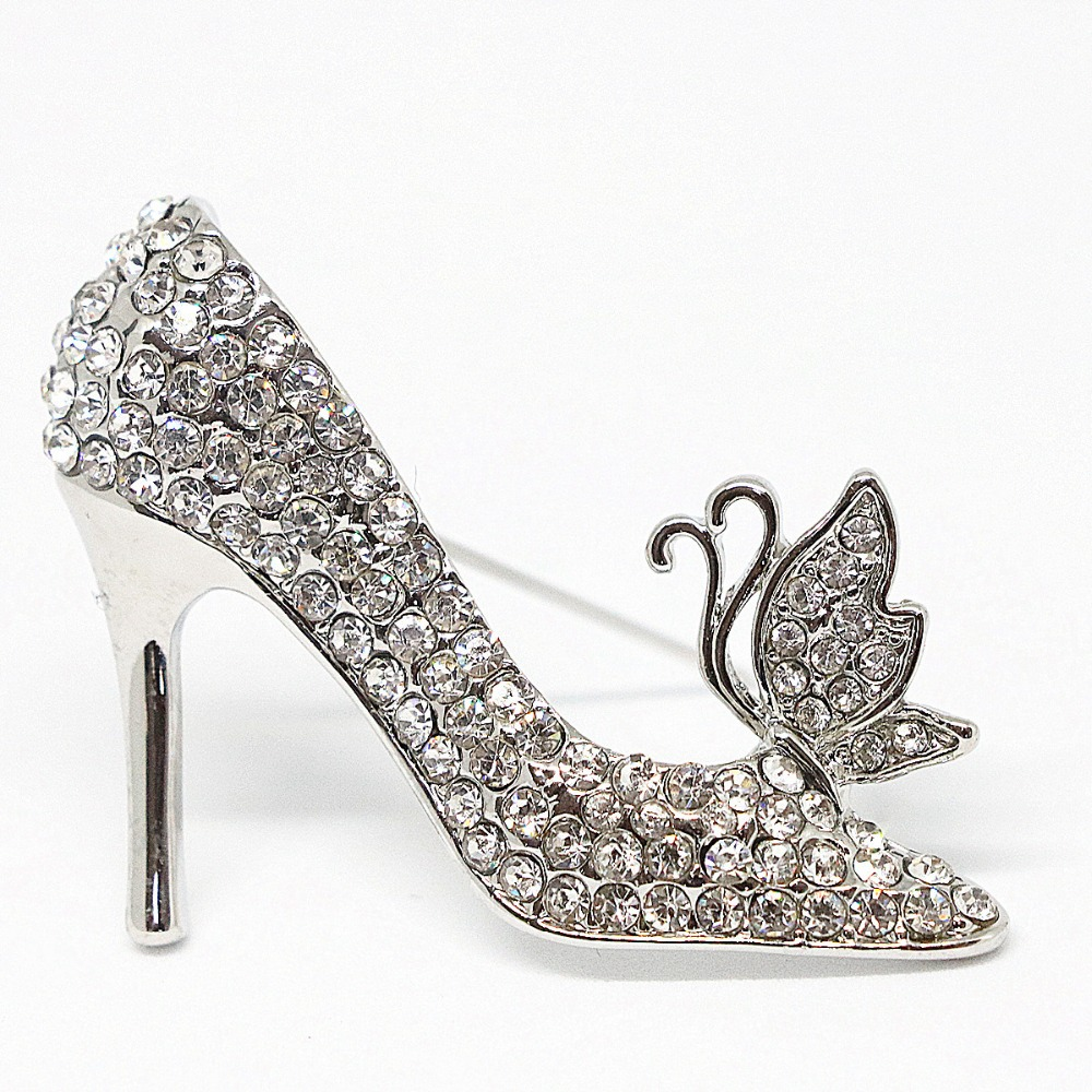 Elegant cute women shoes fashion design brooches charms korean style white rhinestone crystal Design and style fashion jewelry