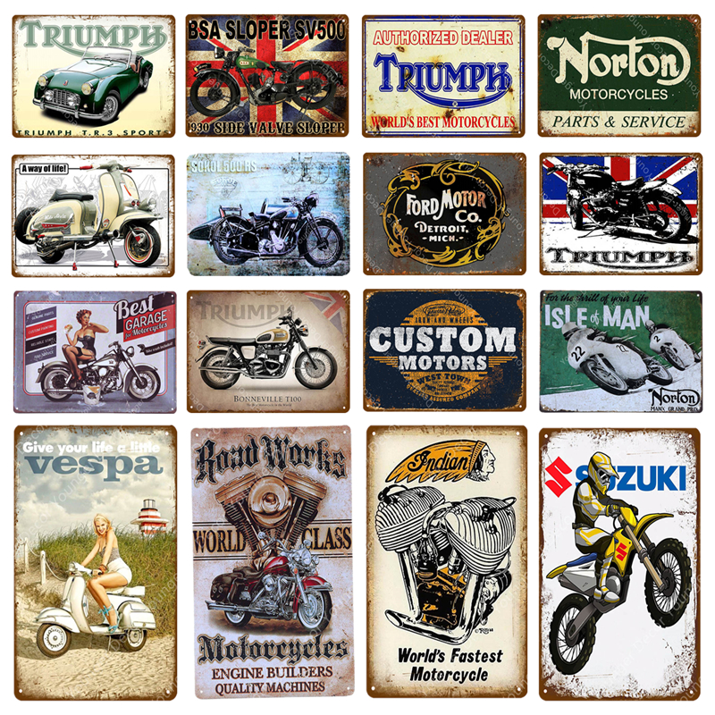 Triumph Norton Motorcycles Metal Signs Custom Motors Iron Poster Pub Bar  Garage Vintage Wall
