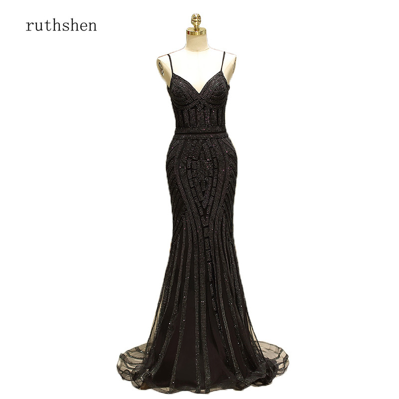 ruthshen 2018 New Spaghetti Strap Long Formal   Evening   Gowns Robes De Soiree Gold/Black Prom   Dress     Evening     Dresses   Mermaid Style