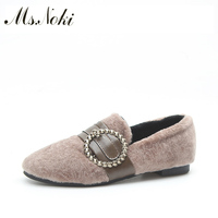 Ms Noki Flat Shoes Women Winter Shallow Female Fur Inside Buckle Strap Boots Warm Crystal Ladies