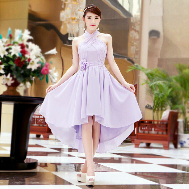 c7bf380f38 ladies occasion elegant women sexy short front long back hi lo halter lilac  evening gown dress formal night dresses W1756