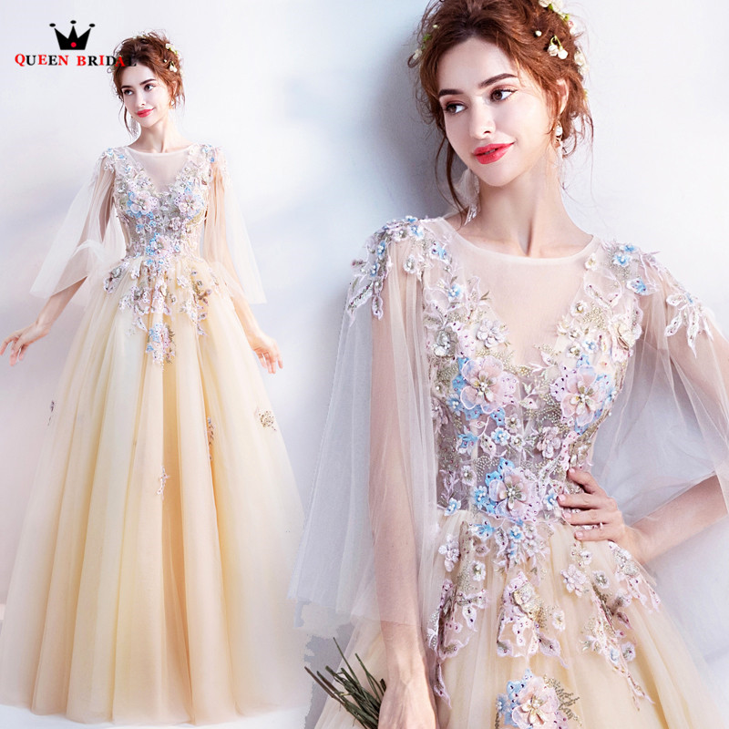 Elegant Yellow A line Tulle Lace Appliques Flowers 2019 New Evening Dresses Party Gowns Dress Evening Gown JE09-in Evening Dresses from Weddings & Events    2