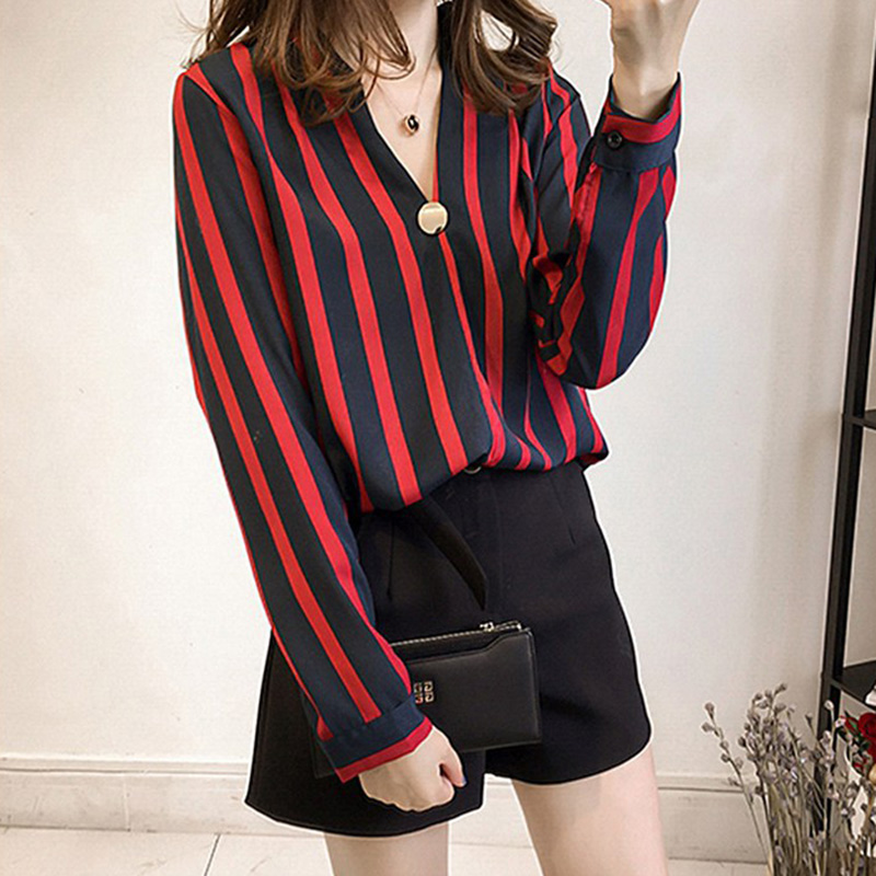 1 Pcs Women Lady Shirt Blouse Long Sleeve V Neck Stripe Loose Fashion Clothing FS99