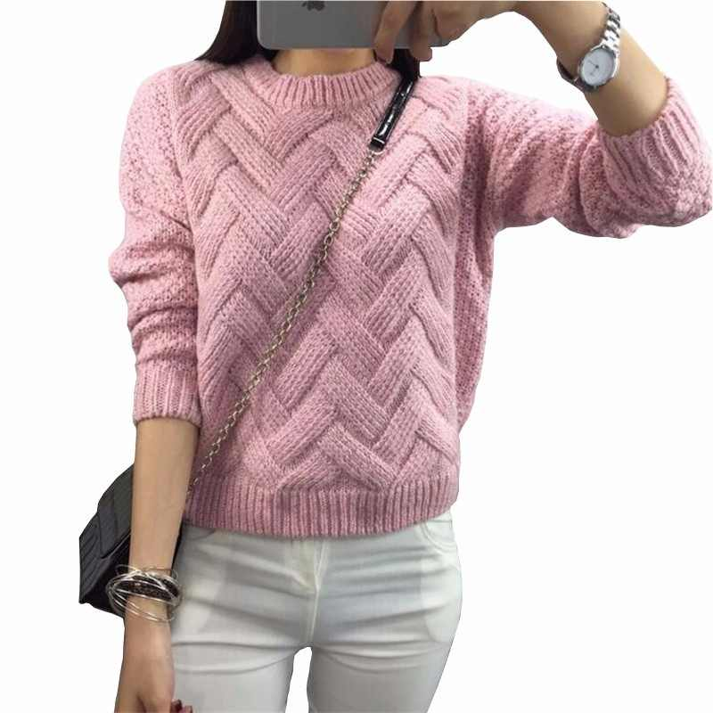 35cb2650272a5 LuiseSandyHan 2018 Women Pullover Female Casual Sweater Plaid O-neck Autumn  and Winter Style