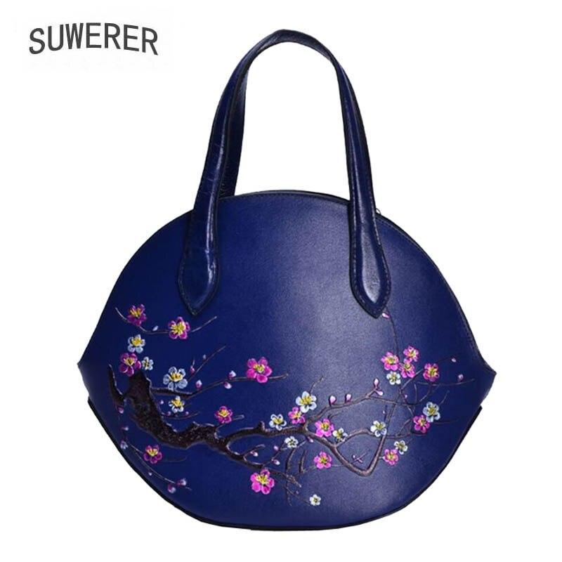 Neue blue Black Echtes Schulter Frauen Luxus Leder Geprägte Mode Umhängetasche Handtasche Handtaschen 2018 xUCqtUwZ41
