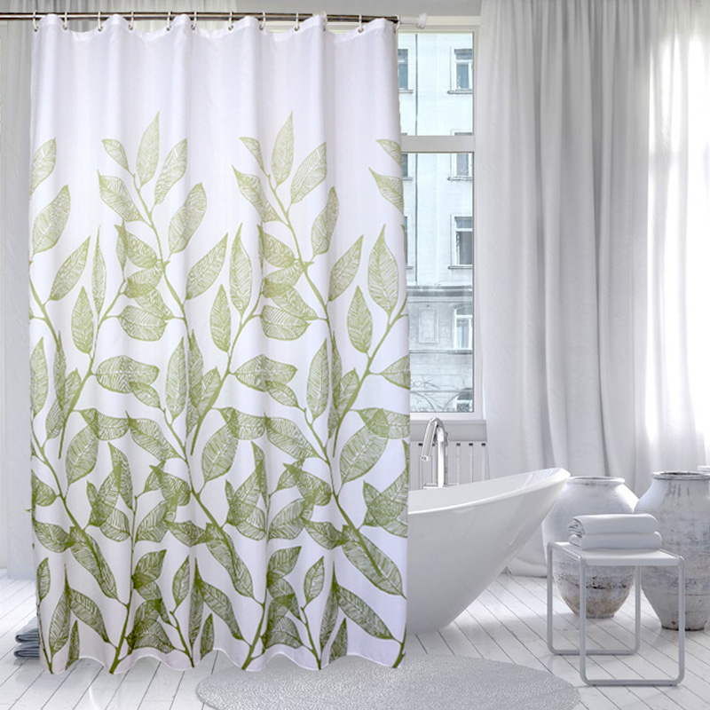 Home Decoration Bathroom Shower Curtain Waterproof Polyester Fabric Green Leaves Bath Cortina 12 Hooks In Curtains From Garden On