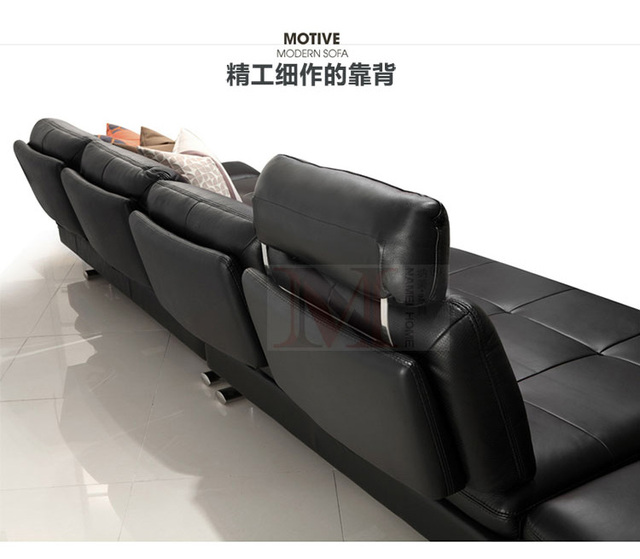real leather sofa sectional living room sofa corner home furniture couch 4-seater functional backrest modern stainless steel leg