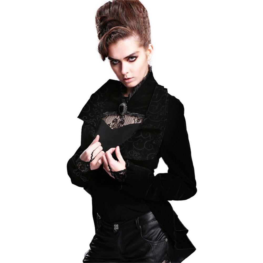 Non Visuelle Black Noir Boucle Queue Manteau Des Col Dentelle Punk Irrégularités D'aronde Paragraphe Sexy Survenues Dames Révélé Long Stand Colombe élastique 4xBvI1Rw