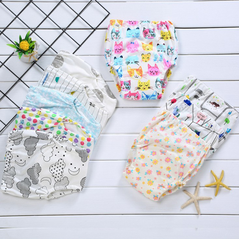 Pure coCute Baby Diapers Reusable Nappies Cloth Diaper Washable Infants Children Baby Cotton Training Pants Panties Nappy(China)