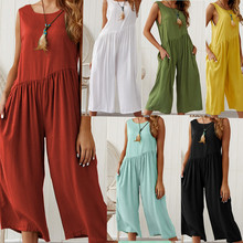Summer 2019  new fshion solid color tank top jumpsuit