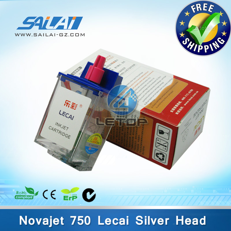 Free shipping 5 pcs lot 100 Original 208 lecai printhead novajet 750 inkjet printer ink cartridge