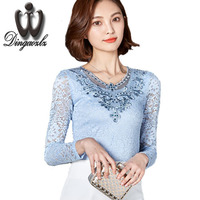2017 Women Sexy Chiffon Blouse Shirt Plus Size Elegant Long sleeve Hollow out Crochet Diamond Lace Shirt Tops For Woman Blusas
