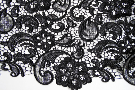Black Crocheted Net Flower Lace Fabric Retro Hollowed Out Classical