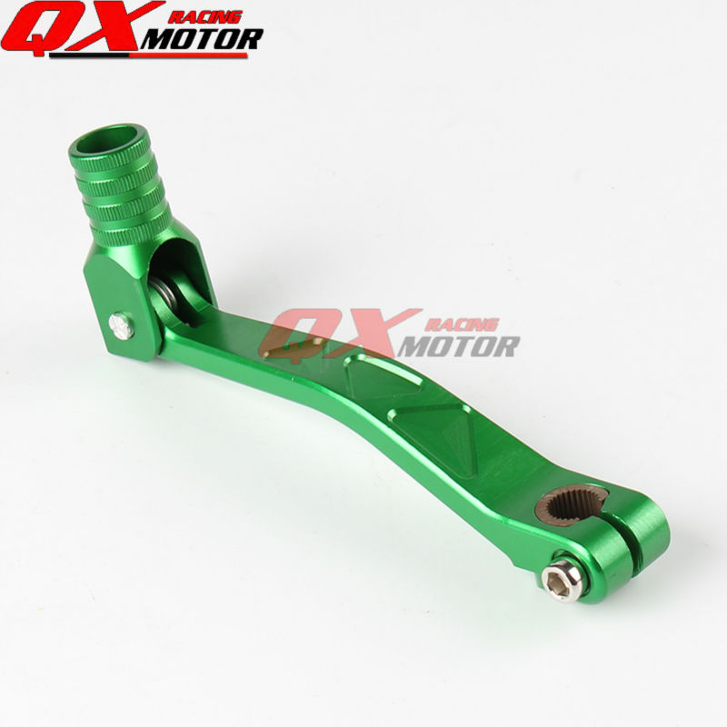 KAYO BSE Apollo Xmotos Dirt Pit Bike CNC Aluminum Folding Gear Shift Lever Green For XR CRF KLX 50 110 125 140 150 160 cc Parts aluminum motorcycle dirt pit bike red black gear shift lever cnc fuel tank cap fit kayo xmotor pitpro motorcross free shippig