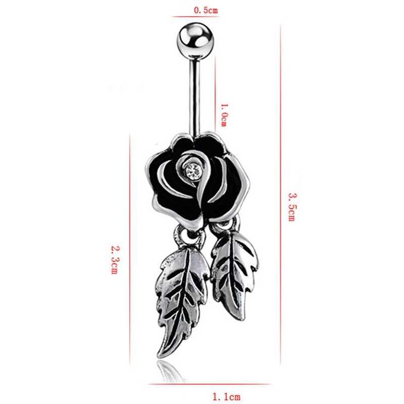 חדש רטרו קריסטל פרח פלדה רפואית טבור נייל רוז טבור גוף פירסינג נירוסטה תכשיטי מתנת פאנק