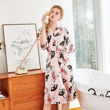 Wasteheart Spring Luxury Purple Pajama Sexy Women Robe Lingerie Sleepwear Faux Silk Printed Nightwear Plus Size Woven Bathrobe