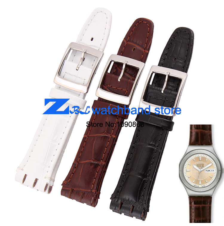 Genuine Leather Watchband 17mm 19mm For Swatch Watch Strap Wristwatches Band Sport Leather Bracelet Wristband