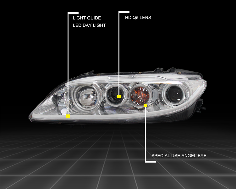 Bi-Xenon Headlights For MAZDA 6 2003-2015 Hi-Low Beam Projector Lens with Angel Eyes Headlights Head Light Car Styling Headlamp auto part style led head lamp for porsche 997 series led headlights for 997 drl h7 hid bi xenon lens angel eye low beam
