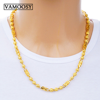 Male Necklace pure 24K Gold Filled Curb Cuban Link Gold Chain choker Necklaces for Men 2018 Fashion Jewelry Gifts