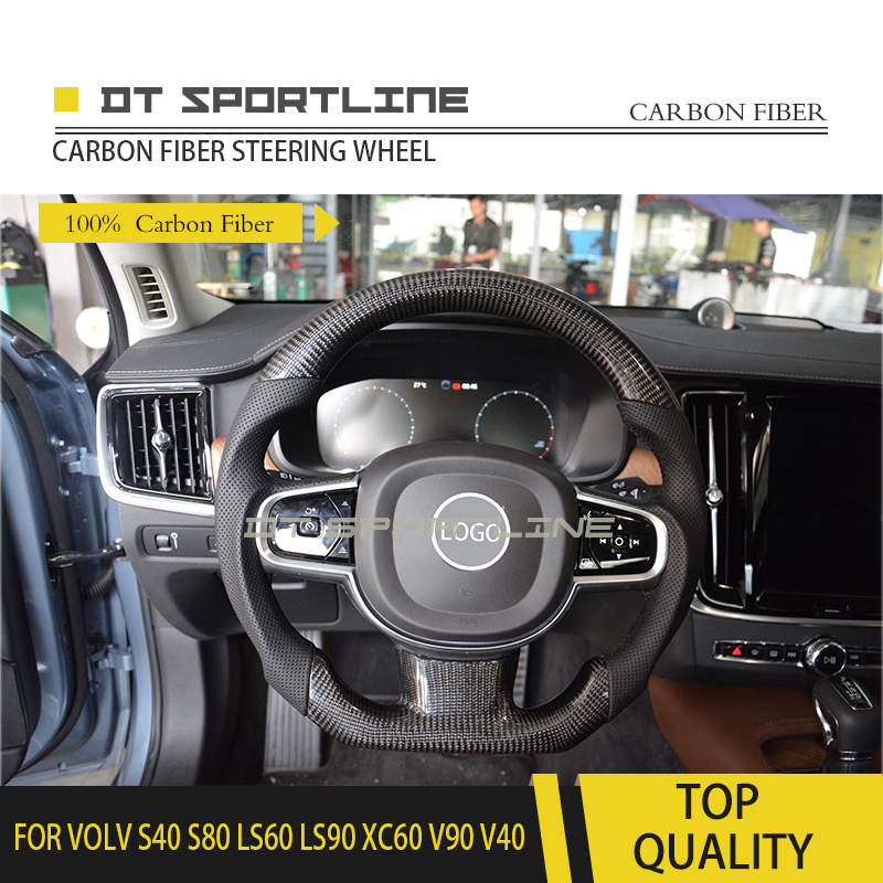 <font><b>Carbon</b></font> Fiber Leather Steering Wheel trims Replacement Steering wheel Customized For VOLVO S40 S80 LS60 LS90 <font><b>XC60</b></font> V90 V40 image