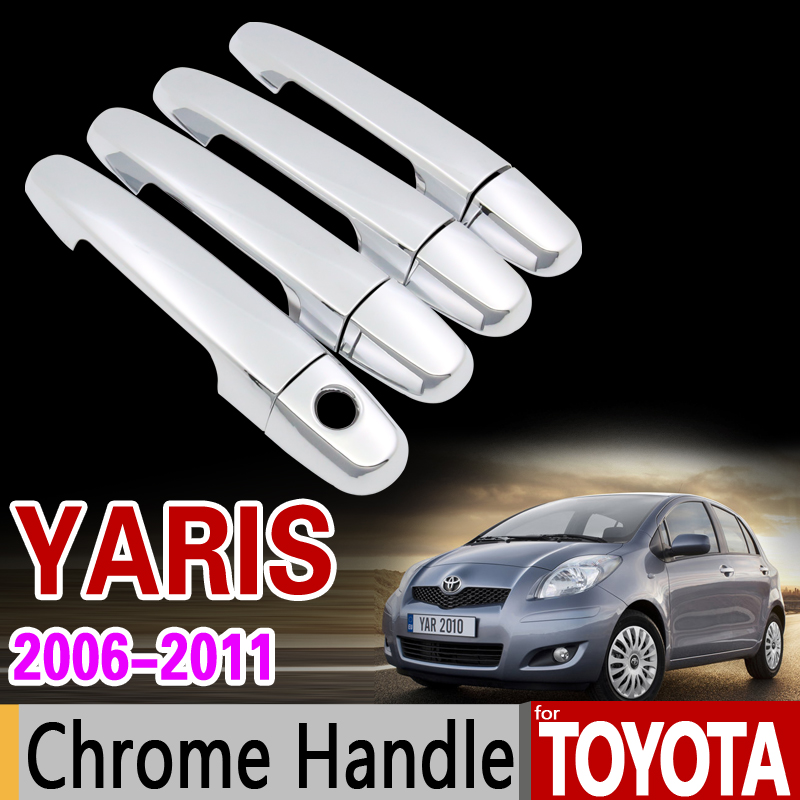 for Toyota <font><b>Yaris</b></font> 2006 - 2011 Vitz XP90 Chrome Handle Cover Trim Set for 2007 <font><b>2008</b></font> 2009 2010 Car Accessories Sticker Car Styling image
