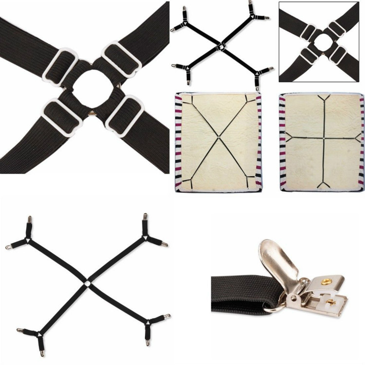 Bed Sheet Clip Adjustable Crisscross Bed Fitted Sheet Straps Suspenders Gripper Fastener Clip Bed Sheet Straps Slipcover Faster in Clothes Pegs from Home Garden