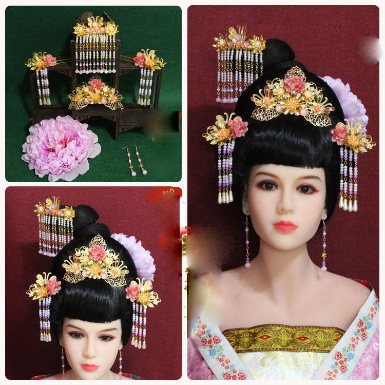 A258 Pink Peony Cute Resin Flower Tassel Hair Sticks Vintage Princess Hair Tiara Hair Accessory Set