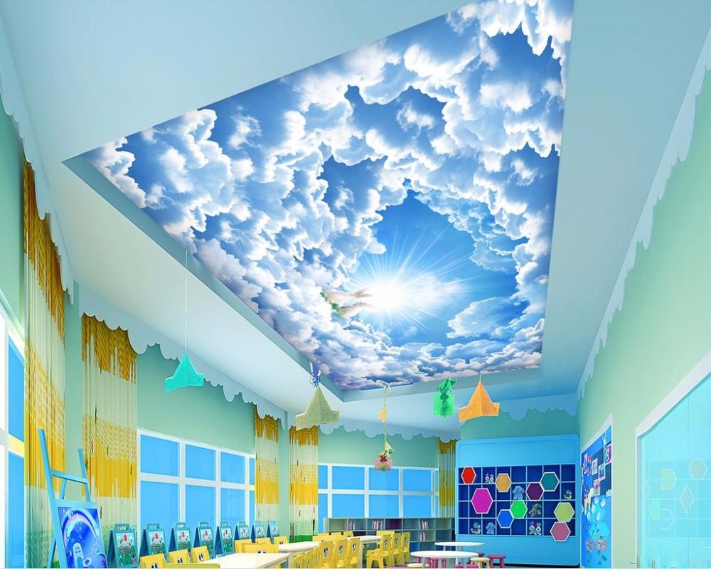 Blue Sky And White Clouds Ceiling Murals Wallpaper Hd Photo Wall