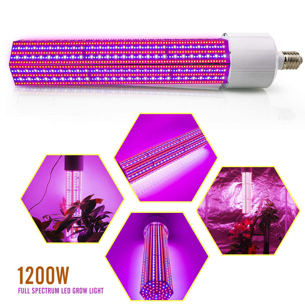 E40 1200W LED Grow Light Corn Bulb Full Spectrum Led Plant Lamp for flower  hydroponics indoor plants growth greenhouse grow tent