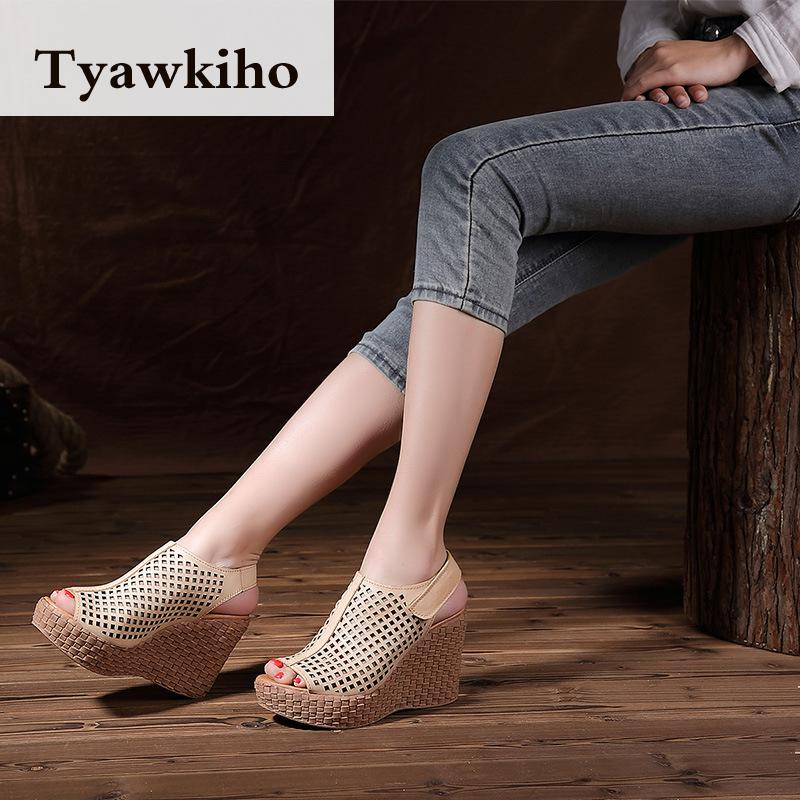 Tyawkiho Genuine Leather Women Sandals 9 CM High Heels Sandals Hollow Out Summer Shoes 2018 Retro Wedge Set Foot Shoes Handmade tyawkiho genuine leather women sandals 7 cm high heel pointed toe summer shoes hollow out retro sandals handmade women shoe 2018
