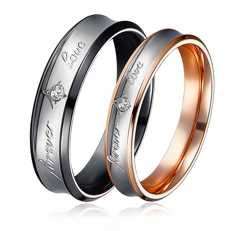 Romantic Bands: Romantic Lovers' Rings Stainless Steel Fashion Wedding