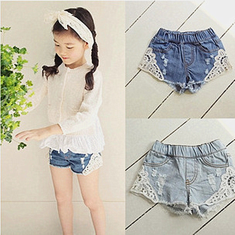 New Summer Korean Girls Lace Hole Jeans Shorts Cowboy Kids Girls Cute Shorts Jeans Short Lace Pocket Denim Shorts Children 2-12Y destroyed raw hem denim shorts