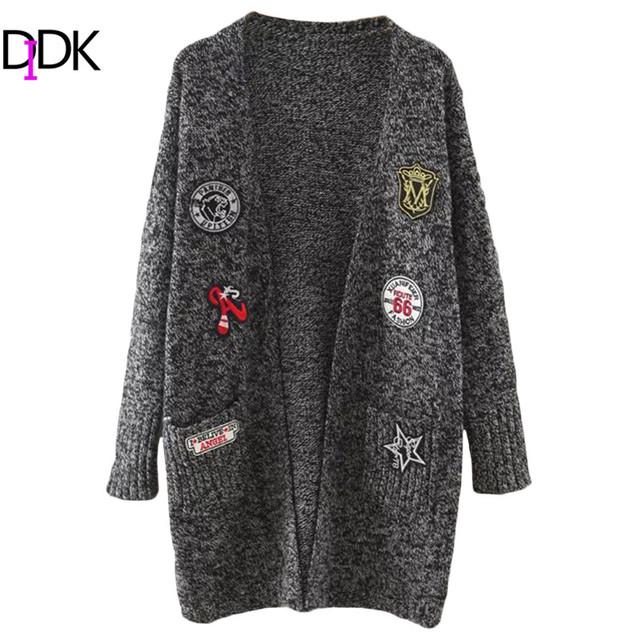 Marled DIDK Womens Cardigan Suéteres de Otoño de Manga Larga de Punto Parche Frente Abierto Cardigan Largo Con Bolsillos