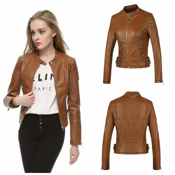Popular Women Brown Leather Jacket-Buy Cheap Women Brown Leather ...