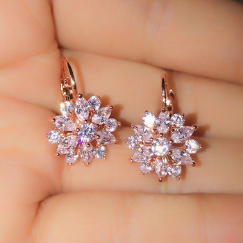 Flower Cluster Clear Crystal Zirconia Hoop Earrings For Women