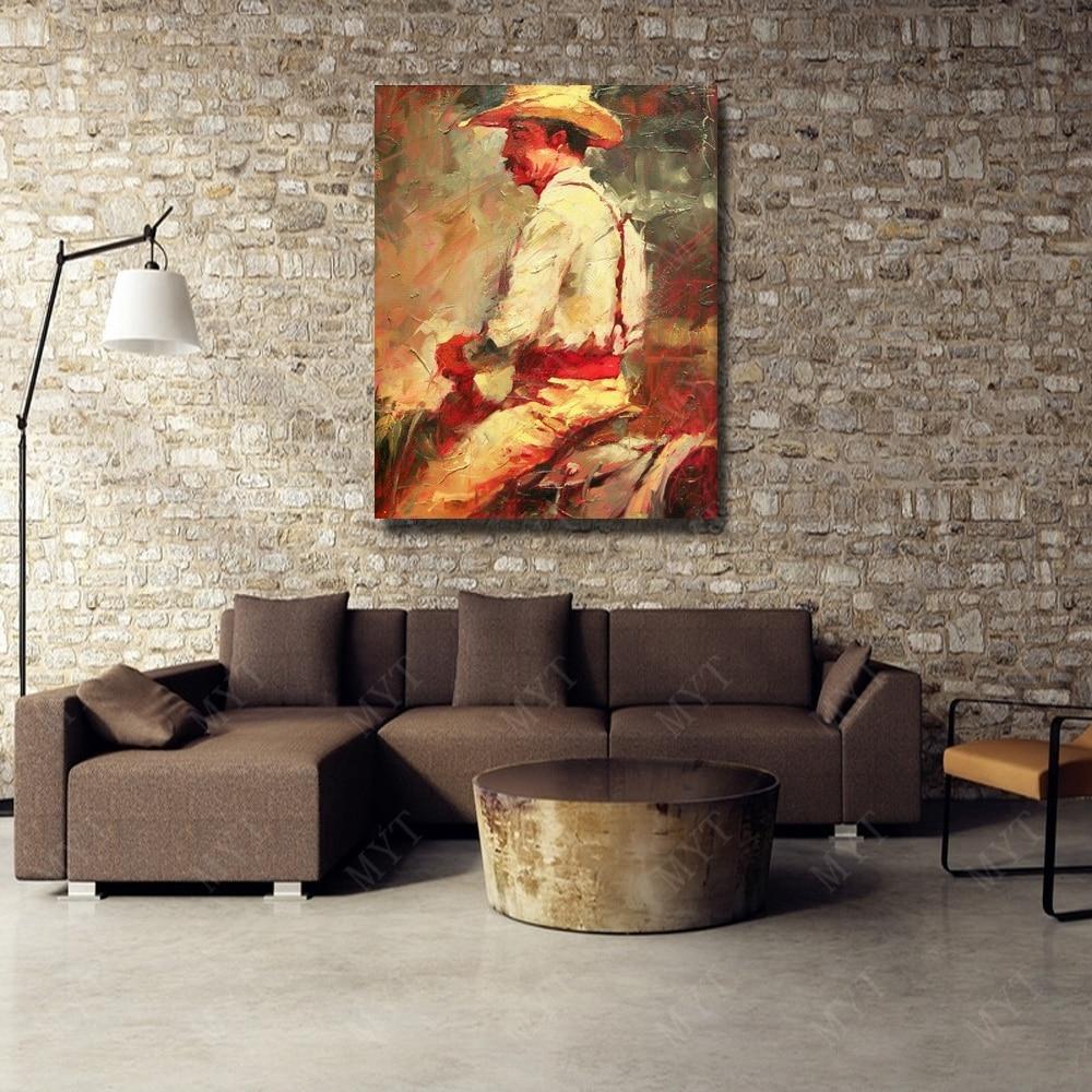 € 33.21 29% de réduction|Couleur chaude l\'homme monter cheval peintures  pour salon mur abstrait peinture à l\'huile peinte à la main pas cher  moderne ...