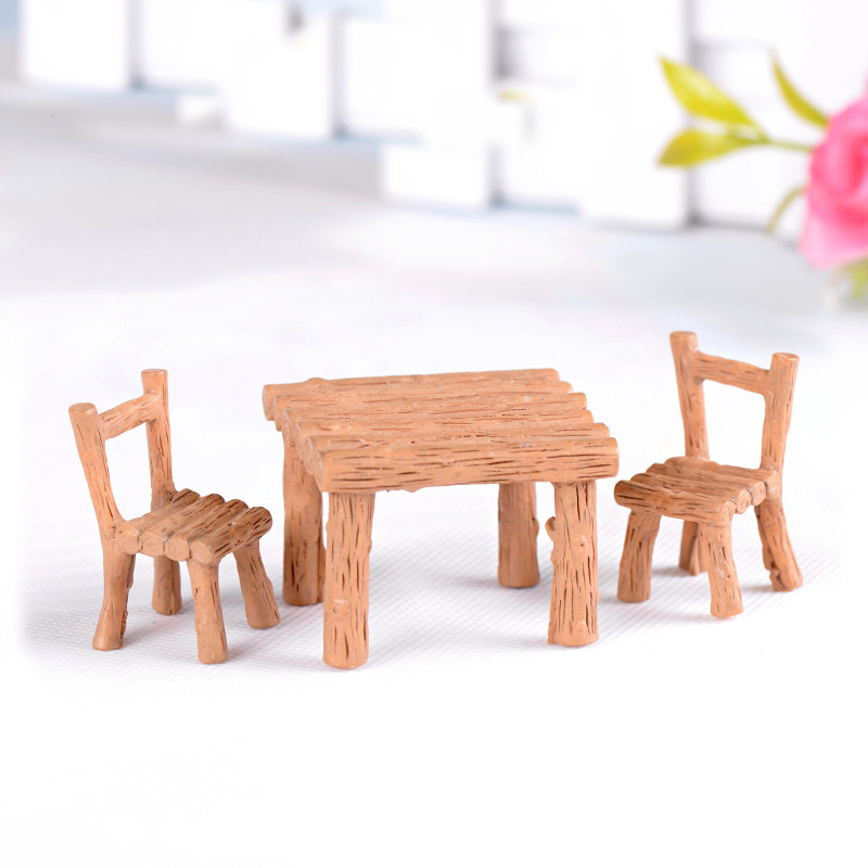 Mini Tables Chairs Furniture Figurine Crafts Landscape Plant Miniatures Decors Fairy Resin Garden Ornaments Figurine