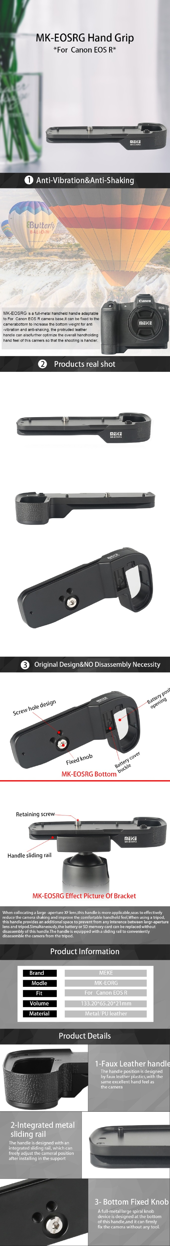 Meike MK-eosrg Full Metal Base L-PLACA Empuñadura Soporte para Cámara Canon EOSR M