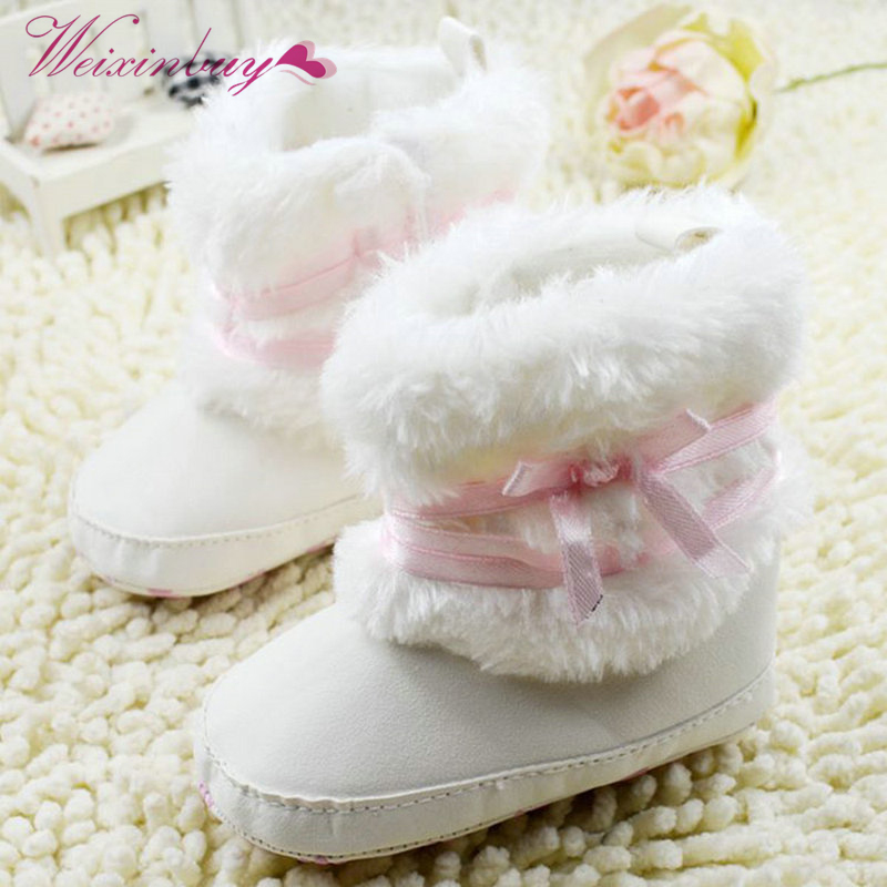 Newborn Baby Girl Bowknot Fleece Snow Boots Booties White Princess Shoes