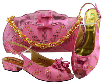 Pink Color Italian Shoes with Match Bags Shoes and Bag Set African Sets 2018 Women Italian African Party Pumps Shoe  MM1082