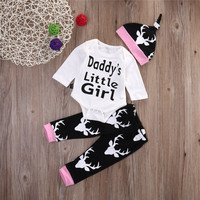 3PCS Autumn Spring Baby Daddys Little Girl Newborn Toddler Baby Girls Tops Romper Long Pants Hat