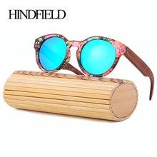 HINDFIELD, бамбуковые женские солнцезащитные очки,, ручная работа, роскошные деревянные солнцезащитные очки, поляризационные, Ретро стиль, солнцезащитные очки, круглая оправа, Uv400, Oculos