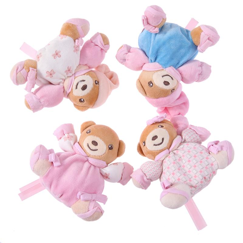 Plush Cartoon Bear Pattern Doll Plush Baby Rattle Toys Newborn Bell Hand Grasp Baby Birthday Gift Toys 4pcs