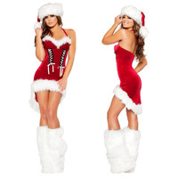 Sexy red christmas dress cosplay sexy santa costumes club DS costumes halloween for women Carnival Xmas Party Cosplay clothing