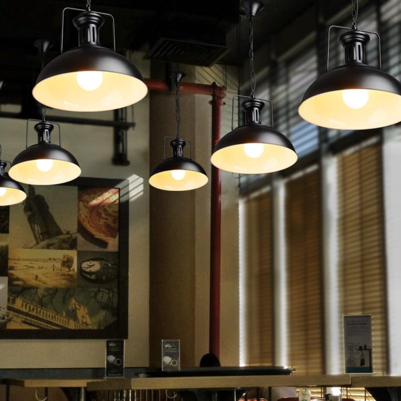 Wrought Iron Industrial Pendant Ceiling Lamp Vintage Black Metal - Industrial island lighting fixtures